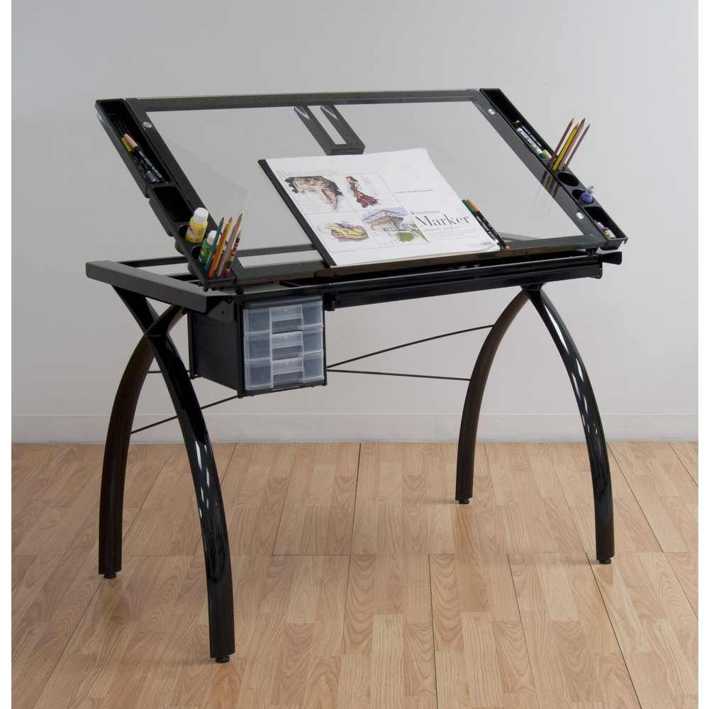 studio designs futura drafting and craft table color black frame and clear glass 10072