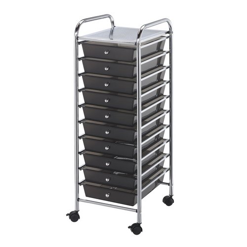 SC10SM : Blue Hills Studio 10-Drawer Smoke Colored Mobile Storage Cart