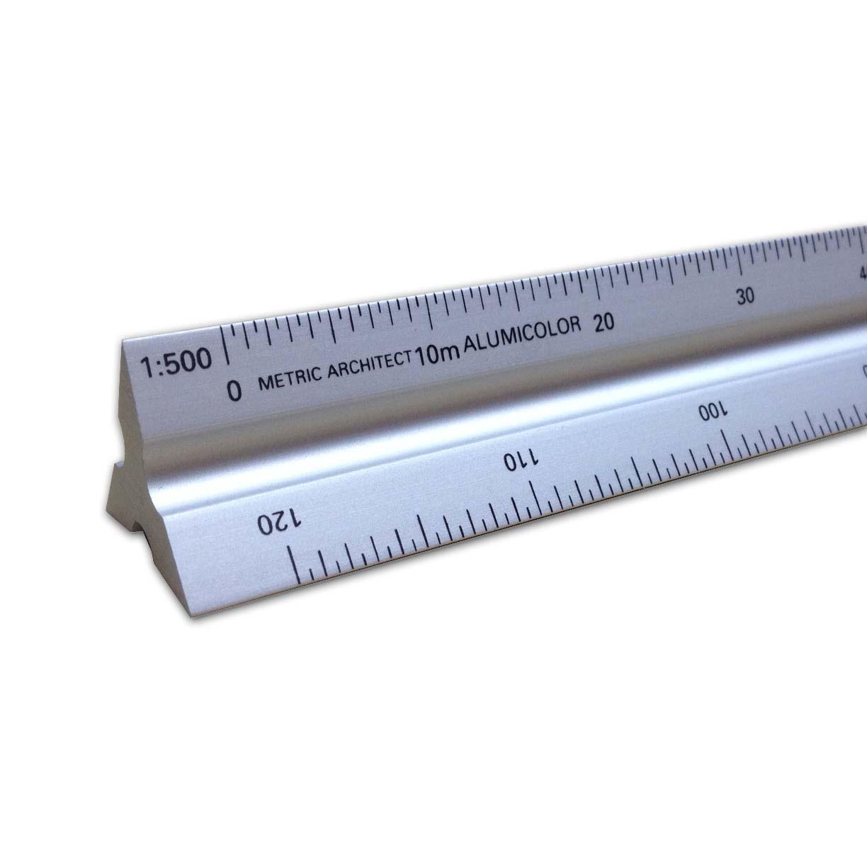 Alumicolor 30cm metric architect aluminum solid triangular for Architecture t scale