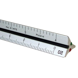 "4"" Mini Aluminum Engineer Triangular Scale Drafting Supplies, Ruling and Measuring Tools, Triangular Scales, Triangular Engineering Scales"