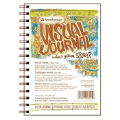 "5.5"" x 8"" Visual Journal Wirebound Mixed Media Book Drafting Paper and Drawing Media, Sketchbooks and Sketch Pads, 5.5"" x 8"" Visual Journal Wirebound Mixed Media Book"