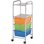 3-Drawer / 2-Shelf Multi-Colored Storage Cart Drafting Furniture, Blueprint Filing and Plan Storage, Mobile Storage Taborets, Drafting Supplies, Portfolios and Cases, Mobile Supply Storage Taborets