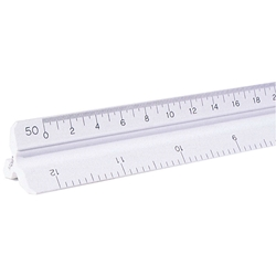 "12"" Plastic Engineering Scale Drafting Supplies, Ruling and Measuring Tools, Triangular Scales, Triangular Engineering Scales"