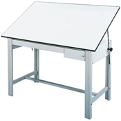 "DM72CT : Alvin 37.5"" x 72"" Design Master 4-Post Drafting Table, Tool and Reference Drawers, Color: Grey"