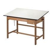 "WLB72 : Alvin 37.5"" x 72"" Titan II Oak Drafting Table, Tool and Reference Drawers"