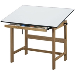 "WTB48 : Alvin 36"" x 48"" Titan Natural Finish Drafting Table 37"" High"