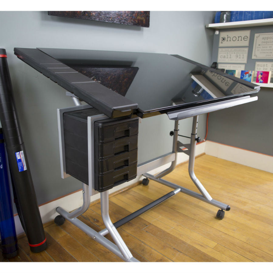 craftmaster ii glass top craft and drawing table cm48gl - Drawing Desk