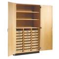 Tote Tray and Shelf Storage Cabinet