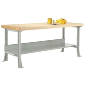 "48"" x 24"" Industrial Steel Workbench with Maple Top"