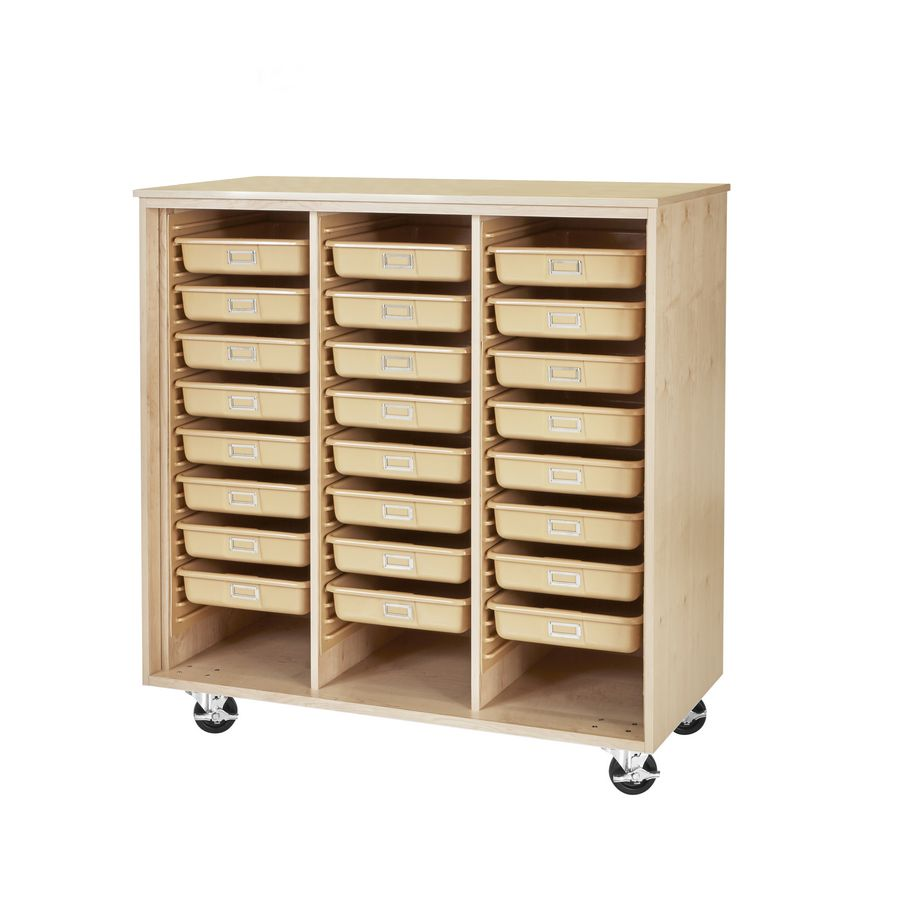 Mobile Tote Tray Supply Cabinet