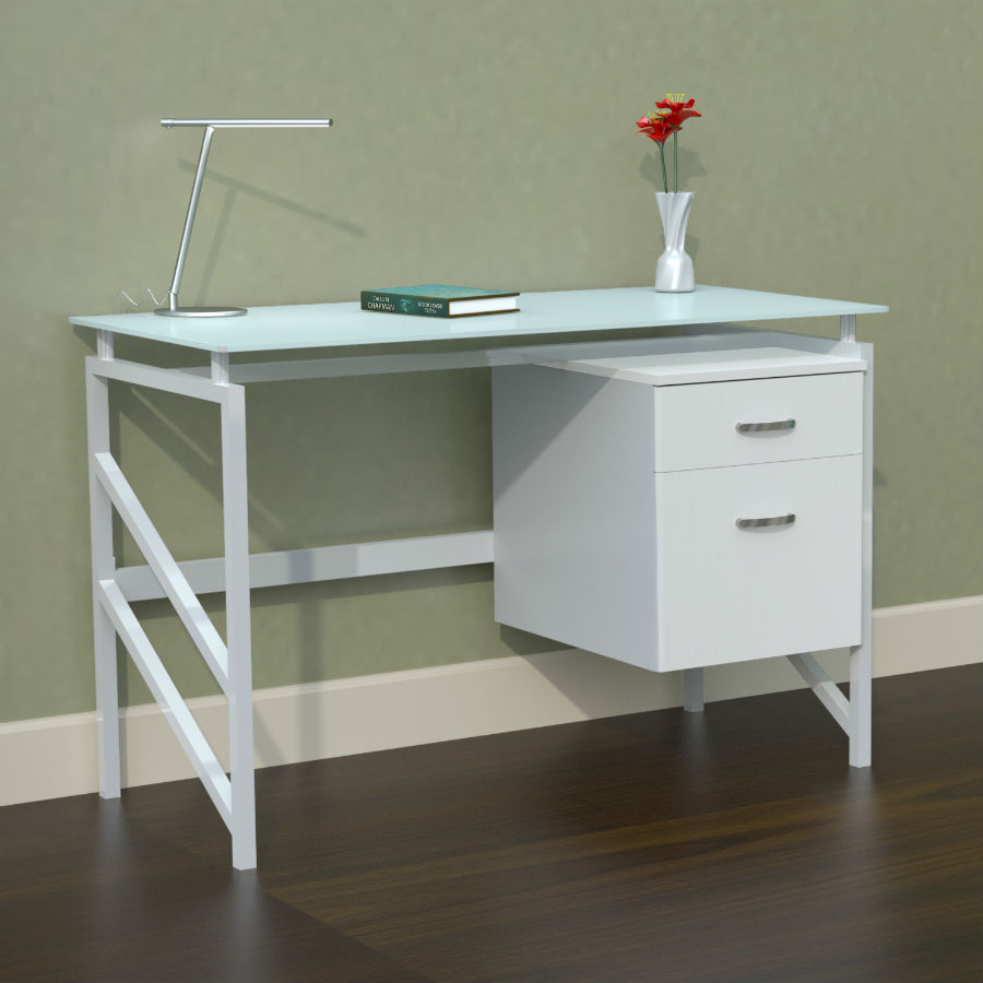 mayline soho glass top desk  - soho glass top desk