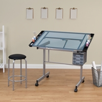 Vision Glass Top 2-Piece Craft Center Drafting Furniture, Drafting Tables and Drawing Boards, Drafting Table Sets, drawing table