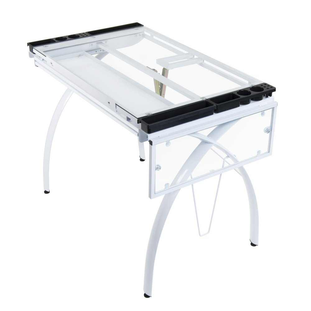 Studio designs futura craft station with glass top -  Futura Craft Station With Folding Shelf