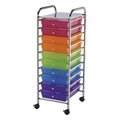10-Drawer Multi-Colored Storage Cart