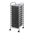 10-Drawer Smoke Colored Mobile Storage Cart