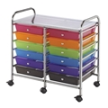 12-Drawer Multi-Colored Storage Cart