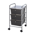 3-Drawer Smoke Colored Mobile Storage Cart