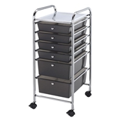 SC6SM : Blue Hills Studio 6-Drawer Smoke Colored Mobile Storage Cart