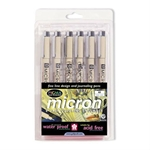 Pigma Micron Pen Set 6-Color Pack .25mm Art Supplies, Art Markers, Drawing and Sketching Markers, Pigma Micron Fine Line Design Pens