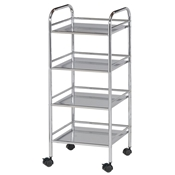 SH4CH : Blue Hills Studio 4-Shelf Storage Cart, Color: Chrome