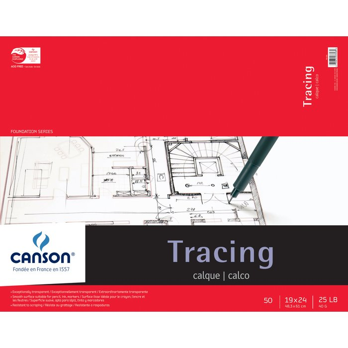 "C100510963 : Canson 19"" x 24"" Foundation Series Tracing Paper Pad"