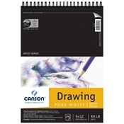 "C100510890 : Canson 9"" x 12"" Artist Series Pure White Wire Bound Drawing Pad"