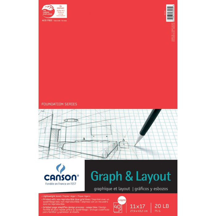 canson 11 x 17 foundation series 4x4 graph and layout sheet pad