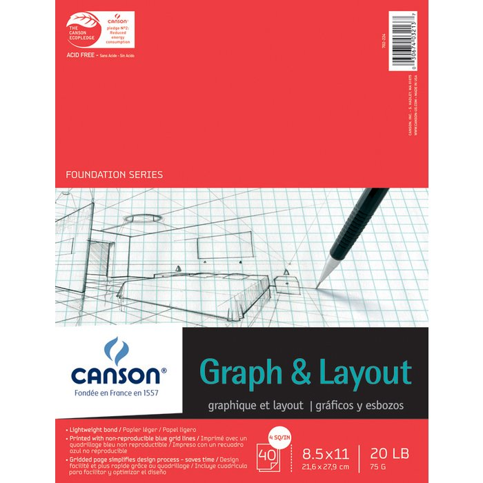 canson 8 5 x 11 foundation series 4x4 graph and layout sheet pad