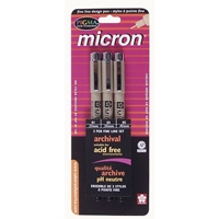 Pigma Micron Black Pen Set 3-Pack Art Supplies, Art Markers, Drawing and Sketching Markers, Pigma Micron Fine Line Design Pens