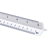 "12"" Plastic Combination Scale Drafting Supplies, Ruling and Measuring Tools, Triangular Scales, Triangular Combination Scales"