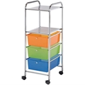 3-Drawer / 2-Shelf Multi-Colored Storage Cart