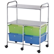 4-Drawer / 2-Shelf Multi-Colored Storage Cart Drafting Furniture, Blueprint Filing and Plan Storage, Mobile Storage Taborets, Drafting Supplies, Portfolios and Cases, Mobile Supply Storage Taborets