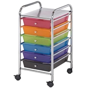 6-Drawer Multi-Colored Storage Cart Drafting Furniture, Blueprint Filing and Plan Storage, Mobile Storage Taborets, Drafting Supplies, Portfolios and Cases, Mobile Supply Storage Taborets