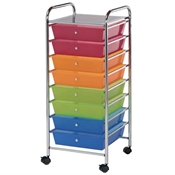8-Drawer Multi-Colored Storage Cart Drafting Furniture, Blueprint Filing and Plan Storage, Mobile Storage Taborets, Drafting Supplies, Portfolios and Cases, Mobile Supply Storage Taborets