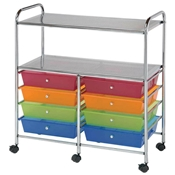 8-Drawer / 2-Shelf Multi-Colored Storage Cart Drafting Furniture, Blueprint Filing and Plan Storage, Mobile Storage Taborets, Drafting Supplies, Portfolios and Cases, Mobile Supply Storage Taborets
