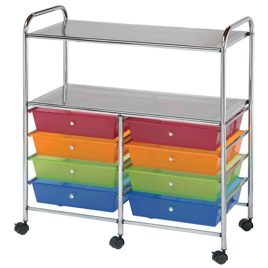 8 Drawer / 2 Shelf Multi Colored Storage Cart