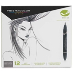SN1773298 : Sanford Prismacolor Brush Marker 12-Color Warm Grey Set
