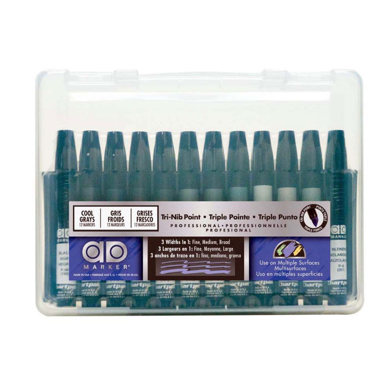 AD12SETCG : Chartpak Cool Grey Colors - Set of 12 Markers
