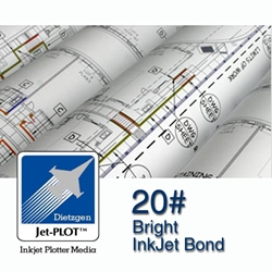 "24""W - 20lb. High Brite Inkjet Bond Roll - 2"" Core"