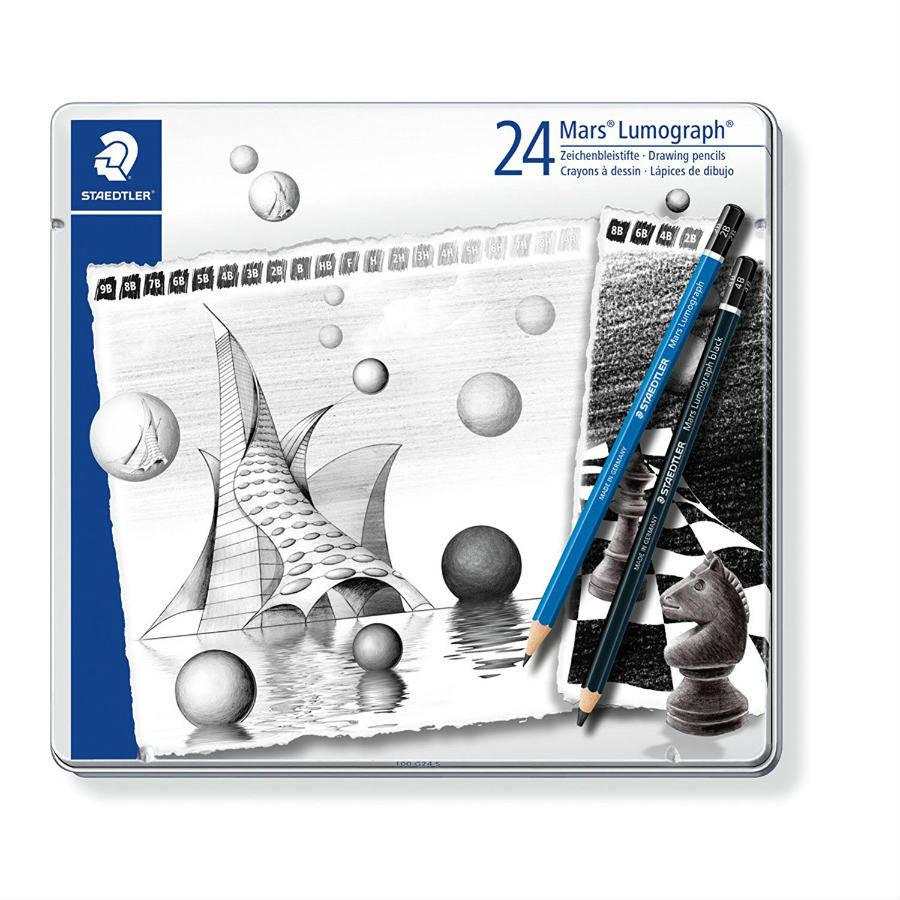 STAEDTLER MARS LUMOGRAPH 100 Sketching Drawing Set of 6 PENCILS