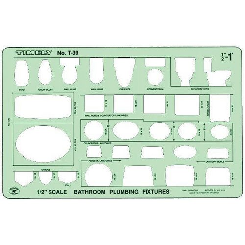 "Bathroom Template timely½"" scale bathroom plumbing template - 39t"