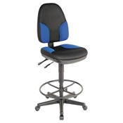 CH555-85DH : Alvin Monarch High Back Drafting Chair, Color: Black with Blue Highlights