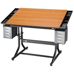 CM48-3-WBR : Alvin CraftMaster II Hobby Station, Color: Black Base / Cherry Wood Top