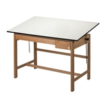 "WLB60 : Alvin 37.5"" x 60"" Titan II Oak Drafting Table, Tool and Reference Drawers"