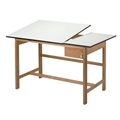 "37.5"" x 60"" Titan II Oak Split Top Drafting Table"
