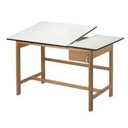 "WSB60 : Alvin 37.5"" x 60"" Titan II Oak Split Top Drafting Table"
