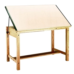 "7706 : Mayline 37.5"" x 60"" Wood 4-Post Drafting Table, No Drawers"