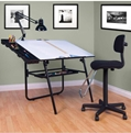 "4 Piece 30"" x 42"" Ultima Drafting Table Set in Black"