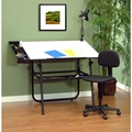 "4 Piece 30"" x 42"" Ultima Drafting Desk Set in Black"